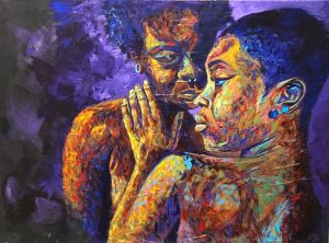 example of the artist's work, a bold colored painting of two dark skinned women.